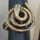Unique Vintage Snake Green Eyes Statement Ring Size 6