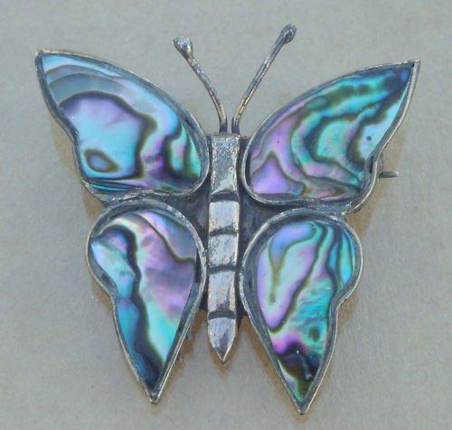 Vintage Mexico Alpaca Blue Butterfly Pin / Brooch