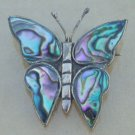 Vintage Mexico Alpaca Blue Butterfly Pin / Brooch