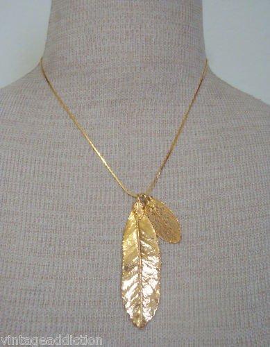 Vintage Golden Leaves Pendant Chain Necklace