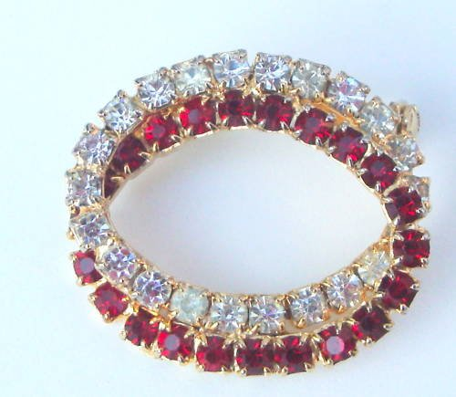 Vintage Red White Rhinestone Pin Brooch