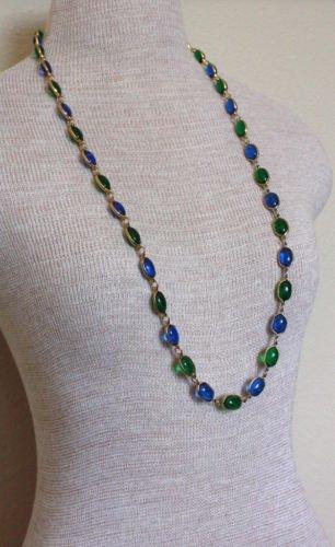 Vibrant Vintage Green & Blue Cabochona Necklace