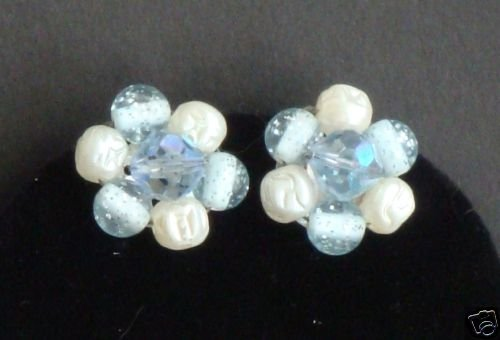 Vintage Blue Crystal Faux Pearl Lucite Clip On Earring