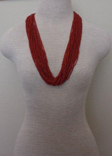 Vintage Red Coral Glass Tassel Necklace1950s