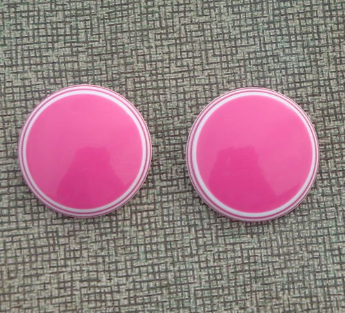 Vintage Vibrant Hot Pink Oversize Button Earrings 1980s