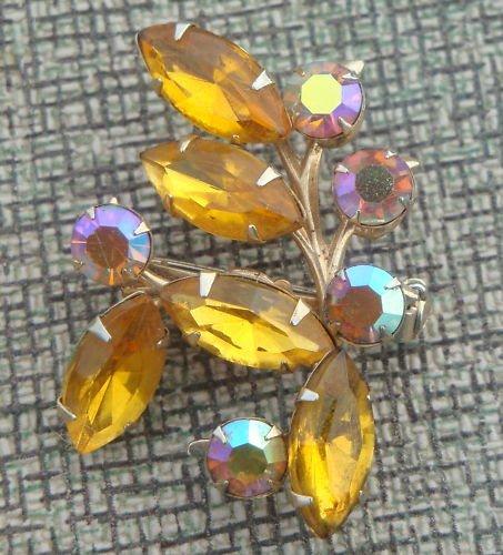 Vintage Yellow Navette & Aurora Borealis Rhinestone Pin