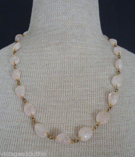 Vintage Rose Quartz Pink Stone Fancy Necklace
