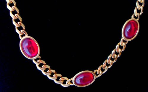 Vintage Napier Gold Tone Chain Red Glass Necklace