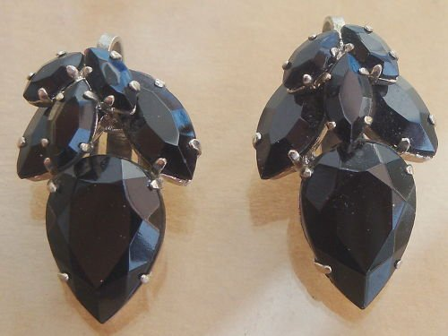 Vintage West Germany Black Glass Open Back Earrings