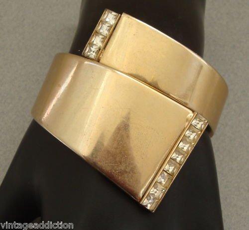 Unique Vintage Deco Rhinestone Hinged Clamper Bracelet