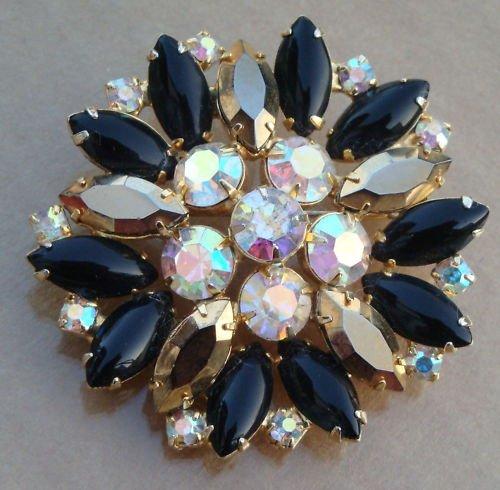 Vintag Black & Gold Navette AB Rhienstone Pin Brooch