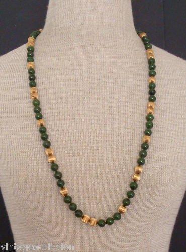 Vibrant Vintage Olive Green Jade Glass Necklace