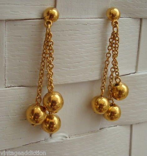 Vintage Gold Tone  Chain Long Dangle Pierced Earrings