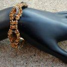 Vintage Brown Amber Navette Rhinestone Bracelet