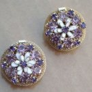 Vintage WEISS Golden Mesh Purple Rhinestone Earrings