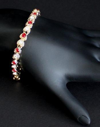 Vintage Red White  Heart Shaped Rhinestone Bracelet