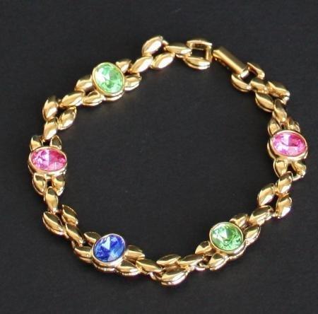 Vintage Colored Rhinestone Glass Chain Bracelet