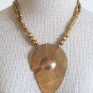 Vintage Art Deco Super Chunky Leaf Pendant Necklace