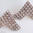 Outstanding Vintage White Rhinestone V Shape Earrings