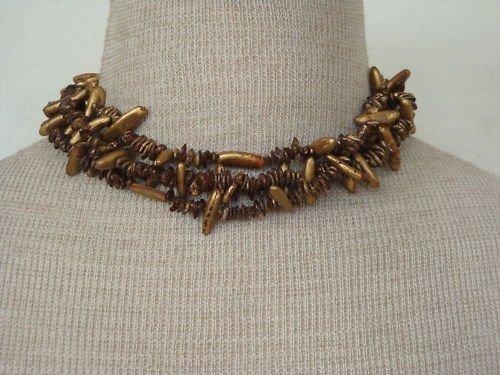 Unusual Vintage Golden 3 Strands Choker  Necklace