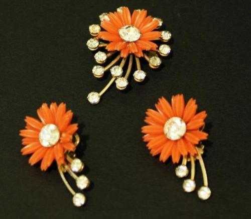 Vintage Celluloid Orange Flower  Earrings Brooch Set