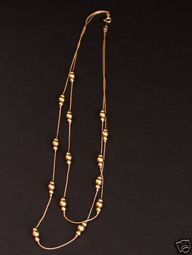 Classy Vintage Gold Bead Multi Strand Necklace
