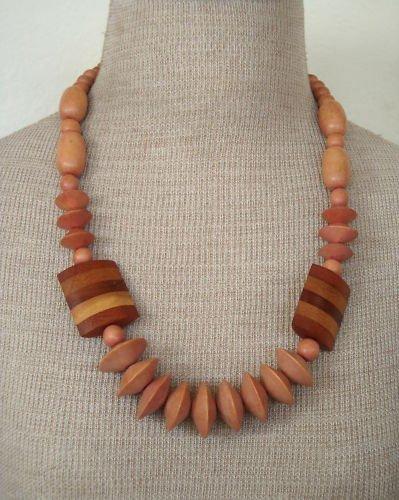 Unique Vintage Brown Stripe Wood Chunky Necklace