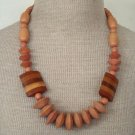 Unique Vintage Brown Stripe Wood Chunky Necklace