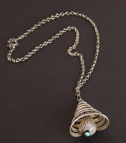 Vintage Silver Tone Bell Necklace/Pendant