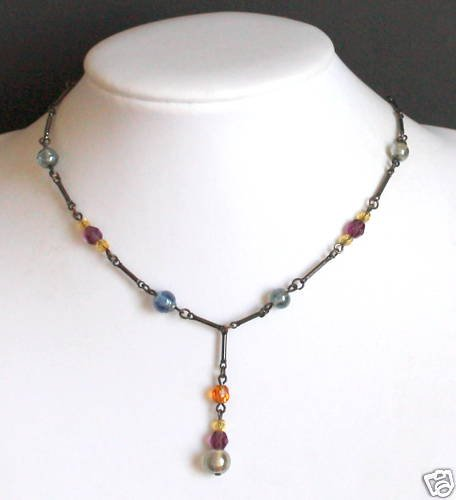 Vintage Colorful Glass Bead Choker Necklace