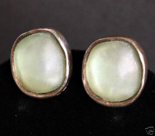 Vintage Norma & Jane Green Glass Button Clip On Earring