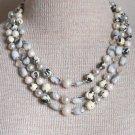 Vintage Classy Multi Strands Stone Glass Necklace Japan