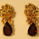 Vintage Gold Tone Amethyst Earrings