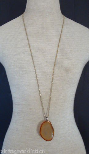 "Vintage 36"" Long Chain Slice of Stone Pendant Necklace"