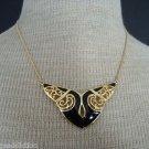 Elegant Vintage Black Enamel Wing  Necklace