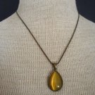 Feminine VIntage Green Olive Glass Pendant Necklace