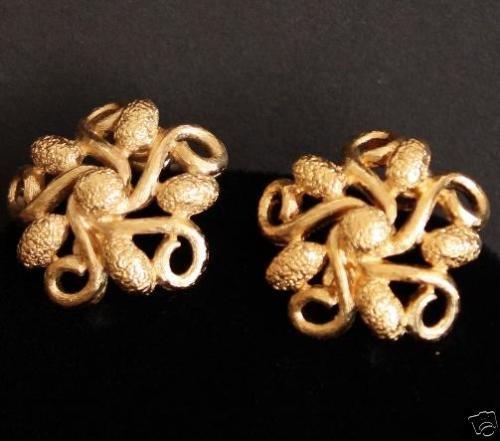 Vintage Monet Gold Tone Swirl Clip On Earrings