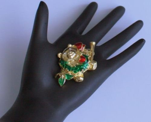 Vintage Jolly Christmas Bear Pin/Brooch