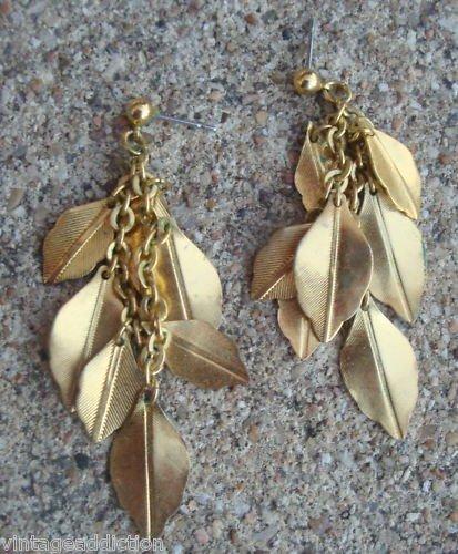 Outstanding Vintage Golden Leaves Long Pierced Earrings