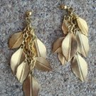 Outstanding Vintage Golden Leaves Long Pierced Earrings