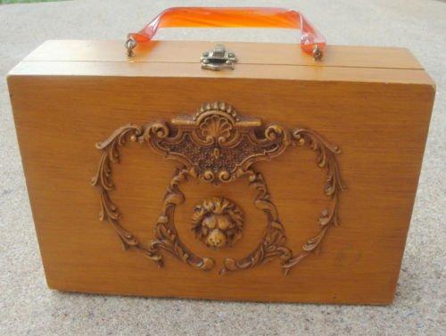 Vintage Lion Head  Wood  Purse celluloid Handle