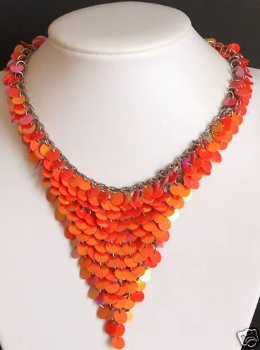 Vintage Orange Mesh Triangle Choker/Necklace 1980s