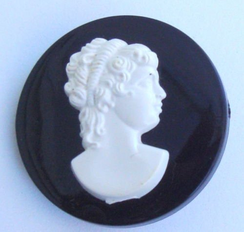 Vintage Mourning Black White Cameo Pin Brooch Unique!