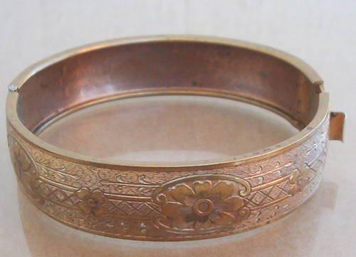 Vintage Victorian Engraved Hinged Bangle Bracelet