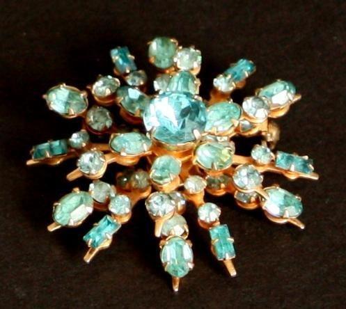 Vintage Star burst Blue Rhinestone Pin/Brooch 1950s