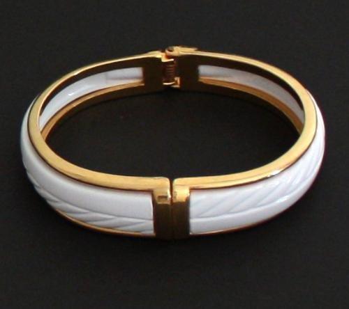 Vintage White Clamper Bangle Modernist Bracelet
