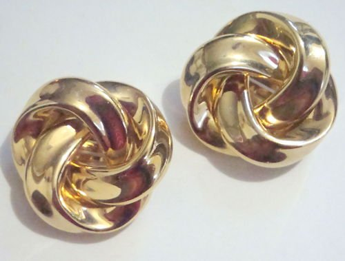 Vintage Gold Tone Oversize Chunky Clip Earrings 1980s