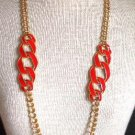Vintage Chunky Gold Chain Red Cream Enamel Bold!