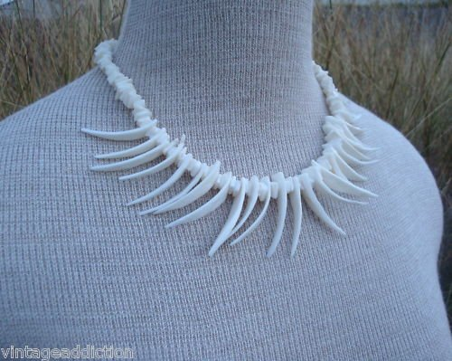 Outstanding Vintage White Coral Fringe Necklace