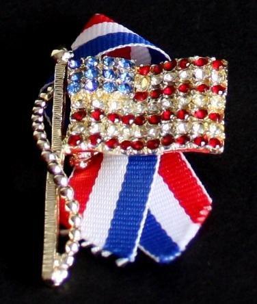 Vintage USA Flag Rhinestone Patriotic Pin/Brooch